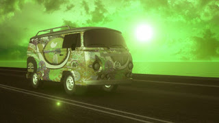 Colorful hippie vanagon drives with the sunset behind, all in green tone