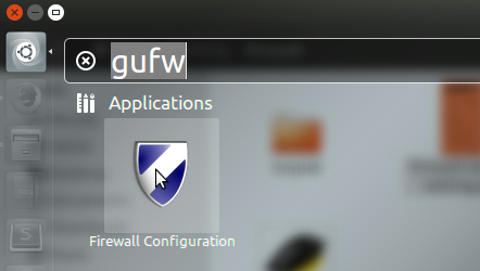 gufw icon in search bar