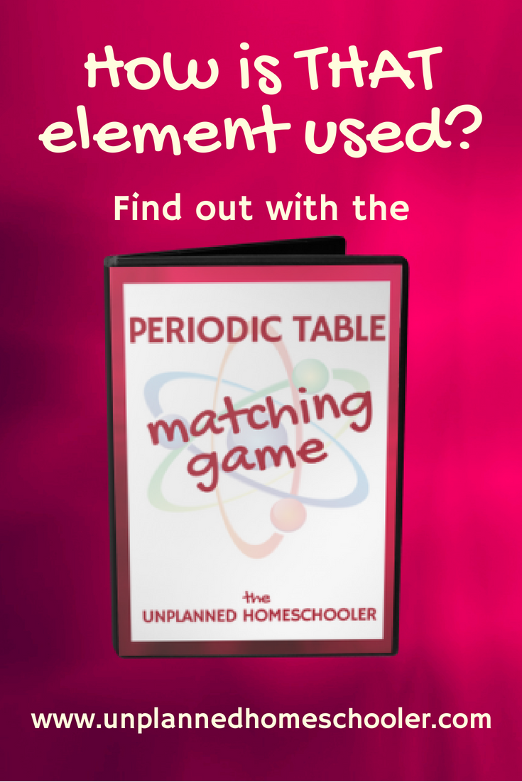 The unplanned homeschooler how is that element used make chemistry more fun and memorable by adding the periodic table matching game to your collection of resources urtaz Choice Image