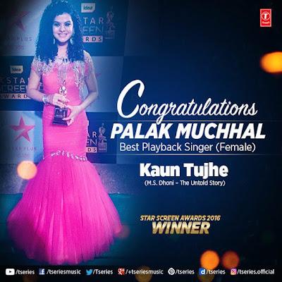 Palak Muchhal won Best Playback Singer at Star Awards
