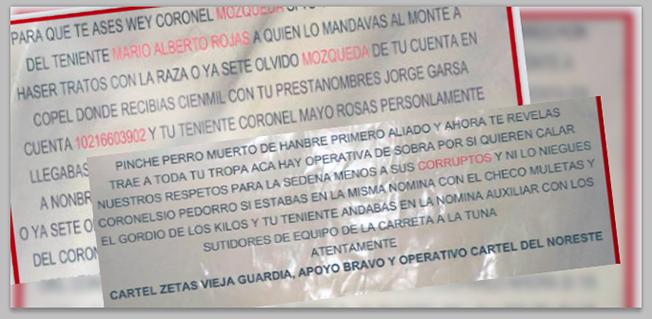 Zetas en Narcomantas amenazan a Mandos Militares en Tamaulipas