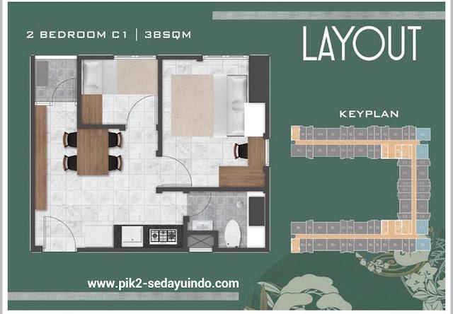 Tokyo Riverside Apartment PIK 2 Tipe 2 BR 38 m2