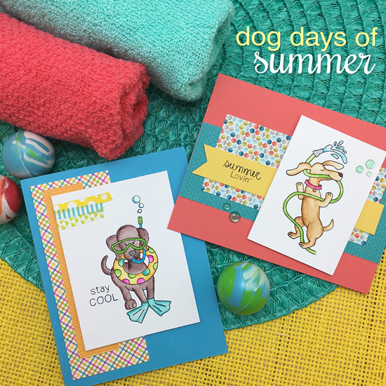 Summer Lovin' dog cards by Jennifer Jackson |  Dog Days of Summer Stamp set by Newton's Nook Designs #newtonsnook