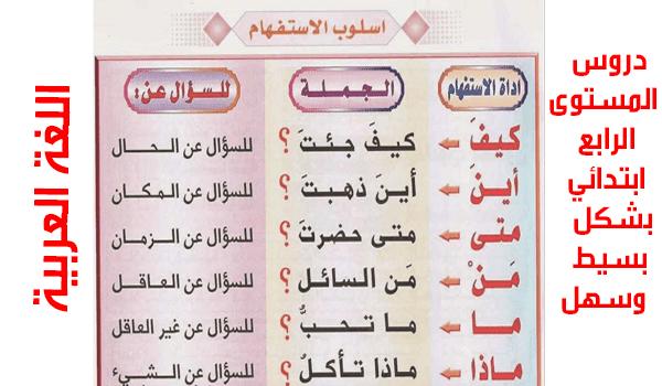 دروس اللغة العربية لمستوى الرابع ابتدائي 2019