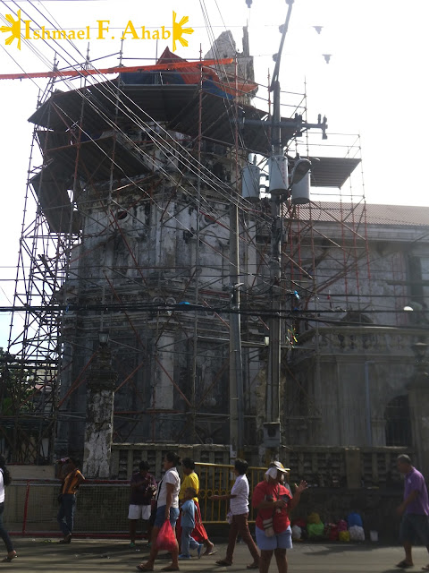 Bell tower of the Minor Basilica of the Santo Niño ruined by the Bohol Earthquake
