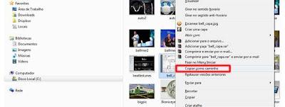 Copiando o atalho de um arquivo com o botão direito do mouse