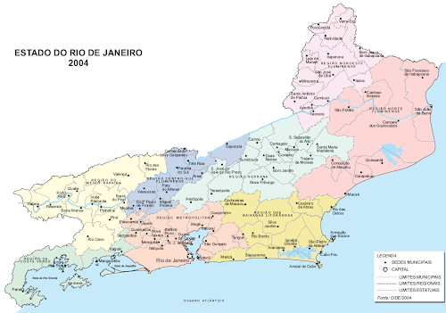 Mapa político do estado do Rio de Janeiro