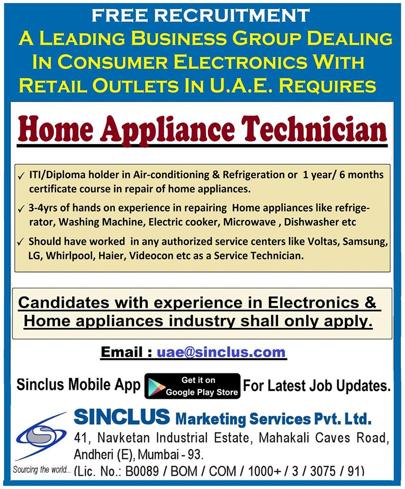 Home Appliance Technician for Retail outlets in UAE