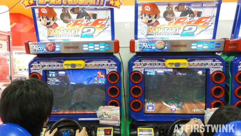 mario kart game machine at namco arcade hall in aeon mall kyoto
