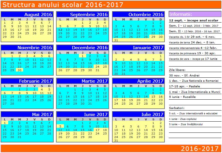 Pro Parinti: Structura anului scolar 2016-2017