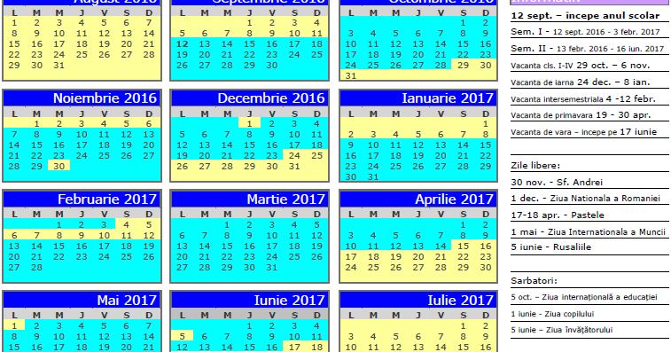 calendar pe anul 2017