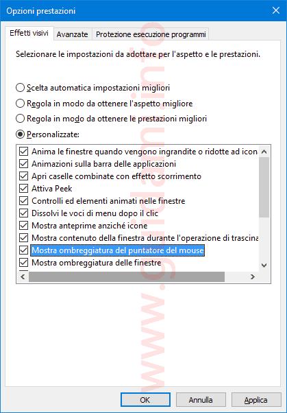 Windows 10 disattivare effetti visivi e animazioni