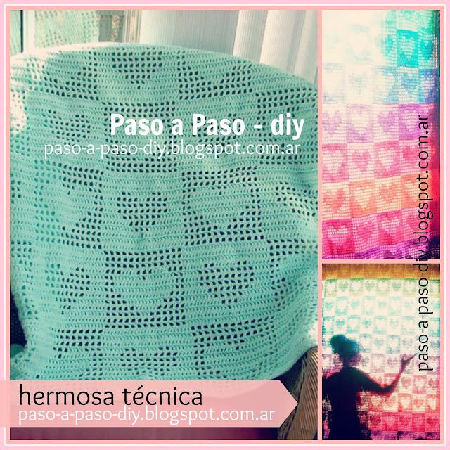 cómo hacer una manta con corazones tejida al crochet