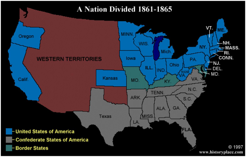 civil war map statesmap civilwar