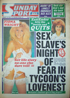 Front page of the Sunday Sport newspaper from 1987
