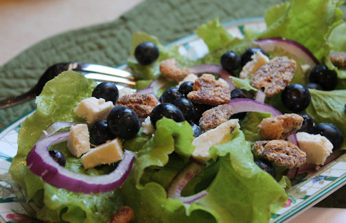 Top the Blueberry Salad with Sugared Pecans