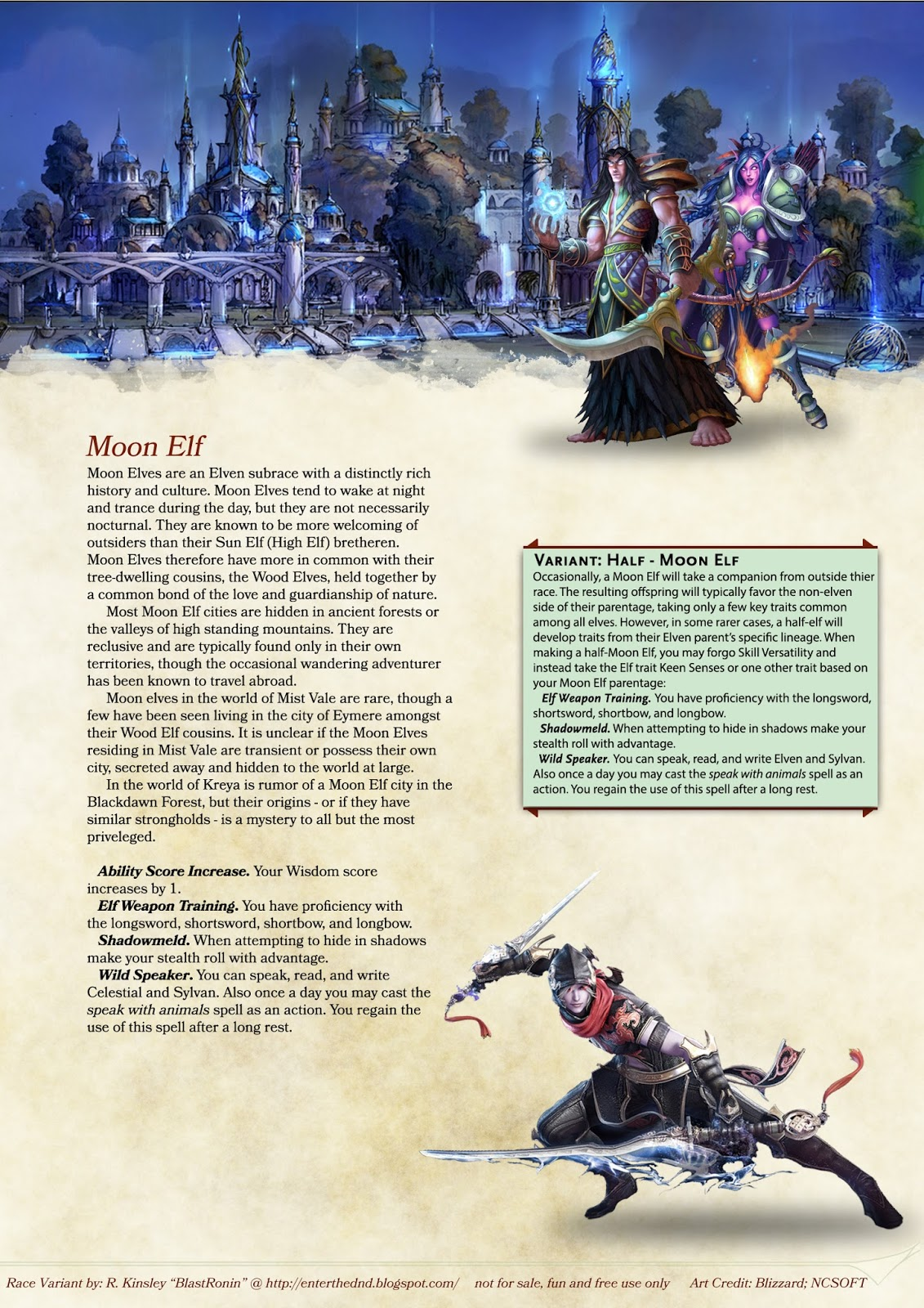 Enter The Dungeons Dragons Homebrew Race Moon Elf