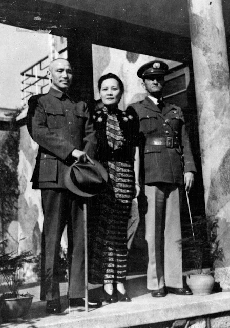 Chiang Kai-shek, Madam Chiang, and Claire Lee Chennault. 1 July 1941 worldwartwo.filminspector.com