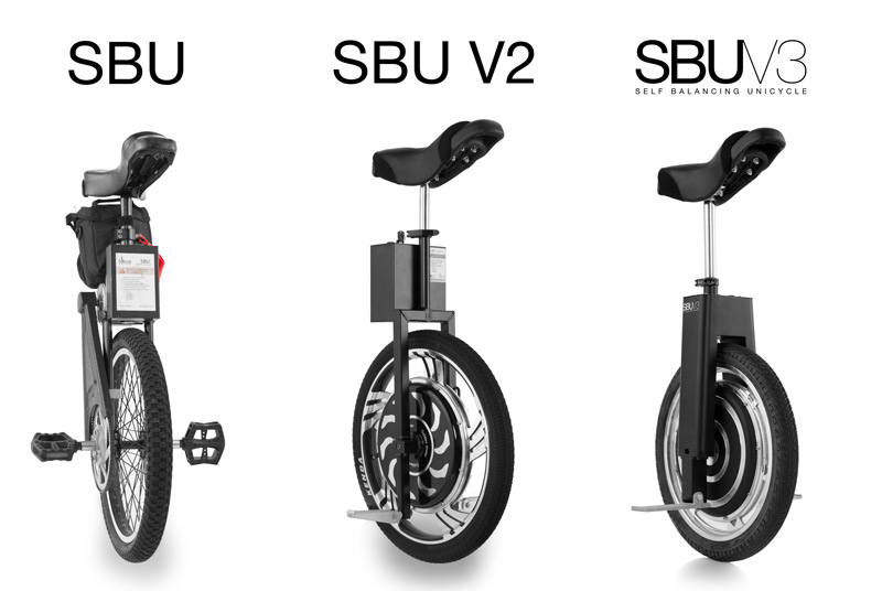 3 different SBU self balancing unicycle