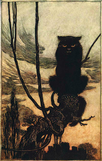 Blacker than the Night Arthur Rackham illustration for Grimm's Fairy Tales