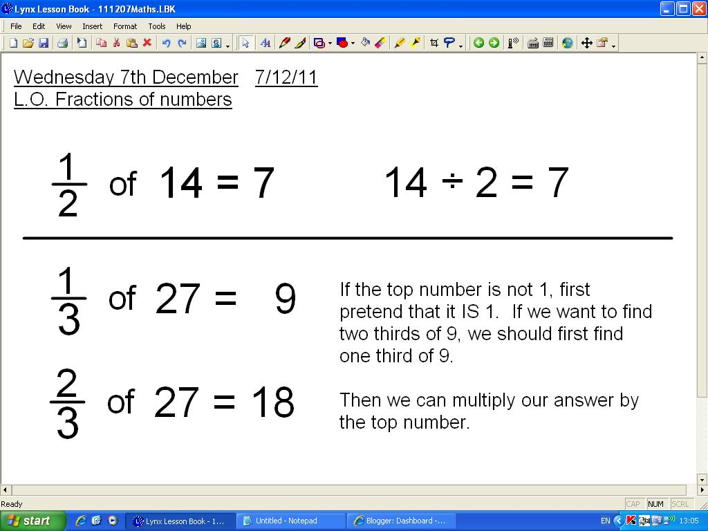 Mr Howe S Class Maths Fractions Of Numbers