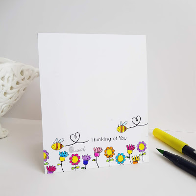 Janes doodles garden friend stamp, garden friend stamp card, one third cas card, use only one third, 1/3rd use, cards by Ishani, quillish, floral card, doodled flowers, bees card, thinking of you card