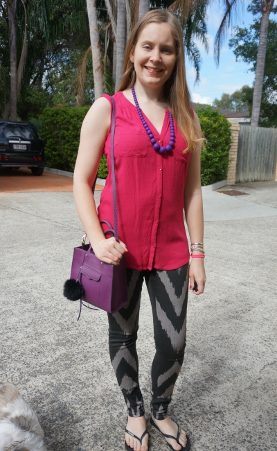 pink tank, printed skinny jeans, purple mini MAB tote bag spring outfit | away from blue