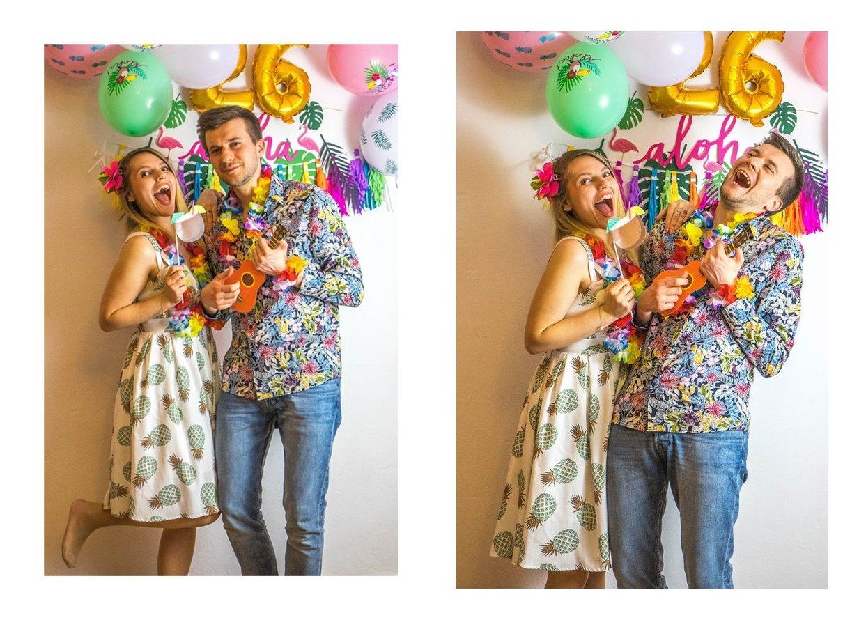 16a  jak zorganizować atrakcje na urodziny imprezy dla dorosłych fotobudka diy pomysły na urodziny co zrobić atrakcje jedzenie zdjęcia pamiątki dodatki styl hawajski tematyczne urodziny imprezy
