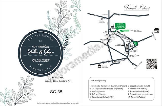 desain undangan pernikahan minimalis biru putih