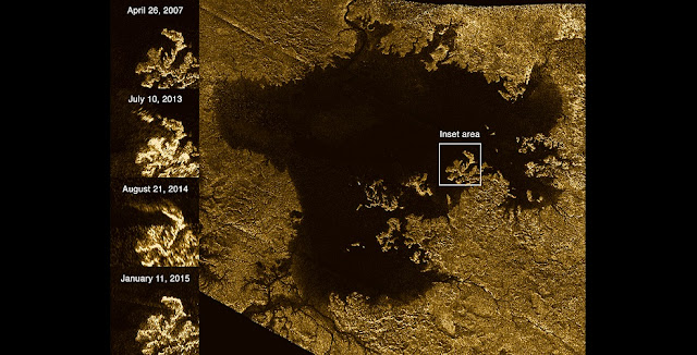 These images from the Radar instrument aboard NASA's Cassini spacecraft show the evolution of a transient feature in the large hydrocarbon sea named Ligeia Mare on Saturn's moon Titan. The images in the column at left show the same region of Ligeia Mare as seen by Cassini's radar during flybys in (from top to bottom) 2007, 2013, 2014 and 2015. Image Credit: NASA/JPL-Caltech/ASI/Cornell