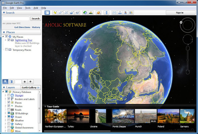 Google Earth Pro explore maps with demographical details and historical traffic, import GIS data, generate videos, calculate areas, and create maps.