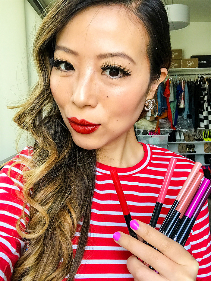 Maybelline color sensational lip liner, maybelline lipsticks, chanel earrings, beauty blogger, san francisco beauty blogger, how to get the perfect lips, four tips for perfect lips