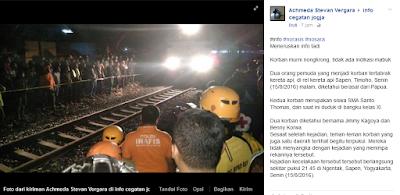 Dua orang tewas ditabrak kereta api