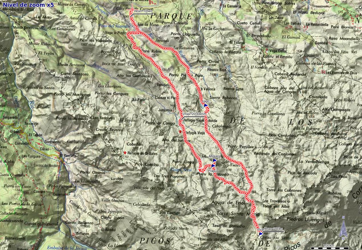 Travesía Pan de Carmen, Jou Santo, Vega de Justigallar: Mapa de la ruta