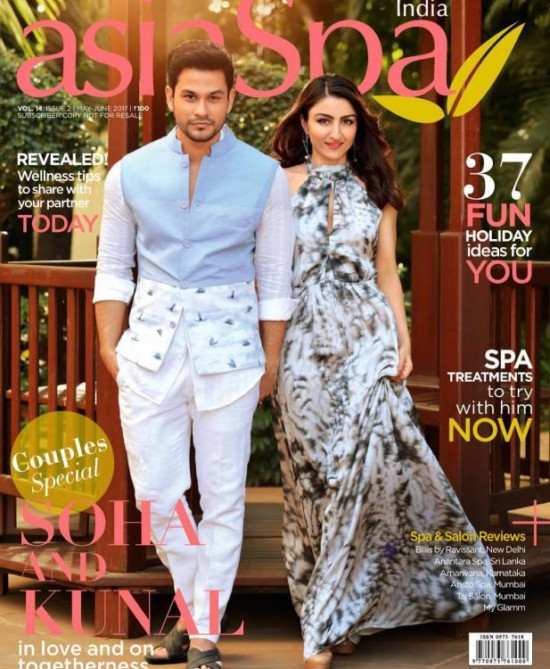 Soha Ali Khan with Kunal on The Cover of asiaSpa Magazine May - June 2017