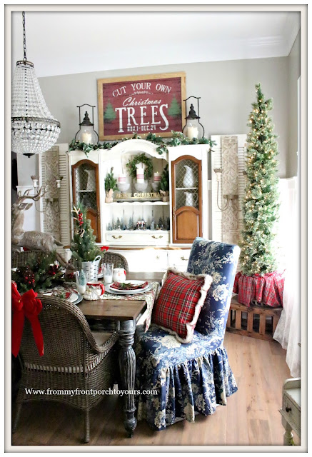 French Country Farmhouse Christmas Dining Room--Plaid and Floral-Vintage Style-From My Front Porch To Yours