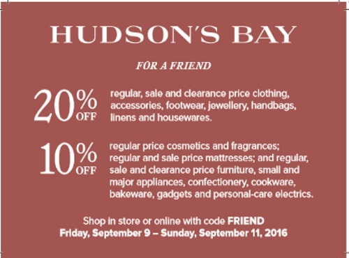 Hudson's Bay VIP Weekend Offer Friends Up To 20% Off Promo Code