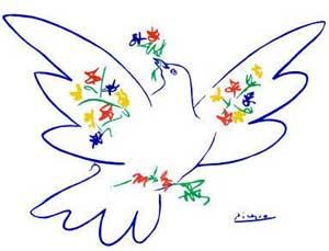 Resultado de imagen de Las palomas de Picasso constituyen un material ideal para trabajar con los niños la temática de la paz y la no violencia . Al observar y comparar sus obras podemos contarles a los niños que al señor Picasso le gustaban mucho las palomas y por eso las dibujaba , que con ellas quizo representar la paz entre todos. Conversaremos sobre su significado con los niños, la paz es no pelearnos, querer al compañero, ayudarlo, trabajar juntos... La paz no quiere lo malo: observaremos cómo se ven en el cuadro las armas rotas sobre las cuales la paloma está posada.