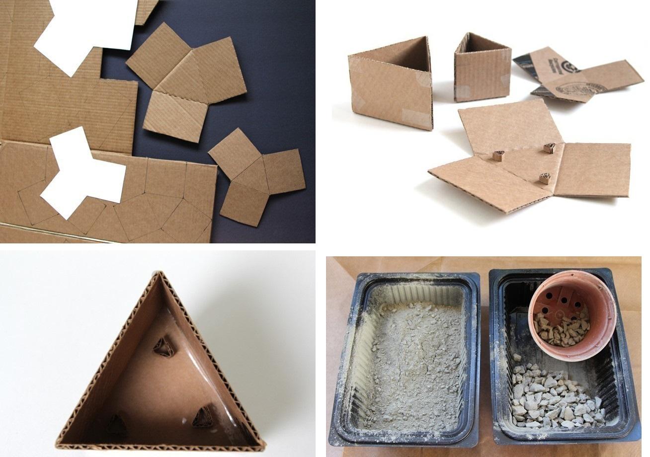 Diy macetas geom tricas de cemento the deco soul - Como mezclar cemento ...