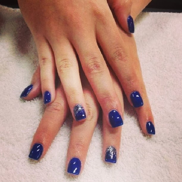 Acrylic Backfill Then LED Polish Manicure With Silver Haze