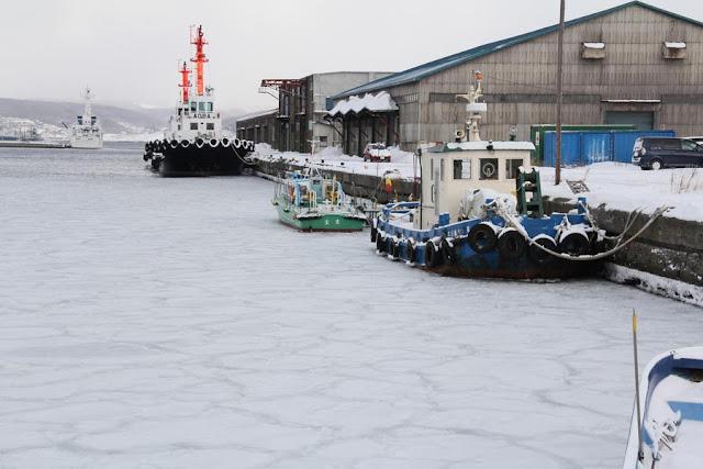 室蘭港中央埠頭に出来る蓮の葉氷