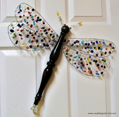 beaded wired jeweled table leg dragonfly