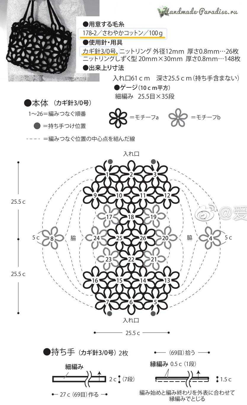 Схемы вязания крючком сумки цветочными мотивами (1)
