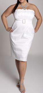 White evening dress for curvy ladies