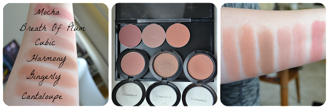 MAC-Blush, Swatch Mac Powder Blush Cantaloupe Gingerly Harmony Cubic Breath Of Plum Mocha
