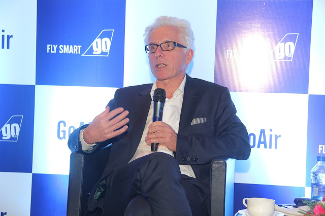 Mr. Wolfgang Prock, the CEO of Go Air addressing the media at the launch of its services in Hyderabad