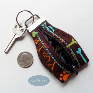 Woofs Up Zipper Key Chain, Dog Lovers Key Fob