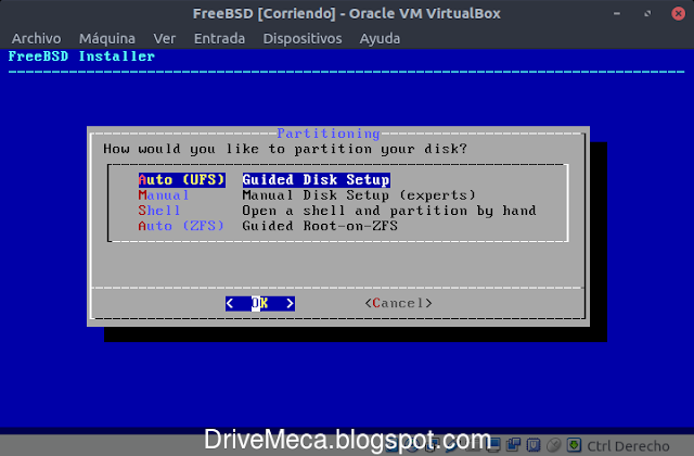 Usamos UFS como esquema de particionado de FreeBSD