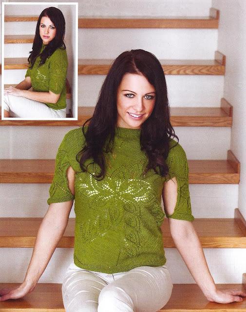 Пуловер «Весна» спицами с необычными рукавами