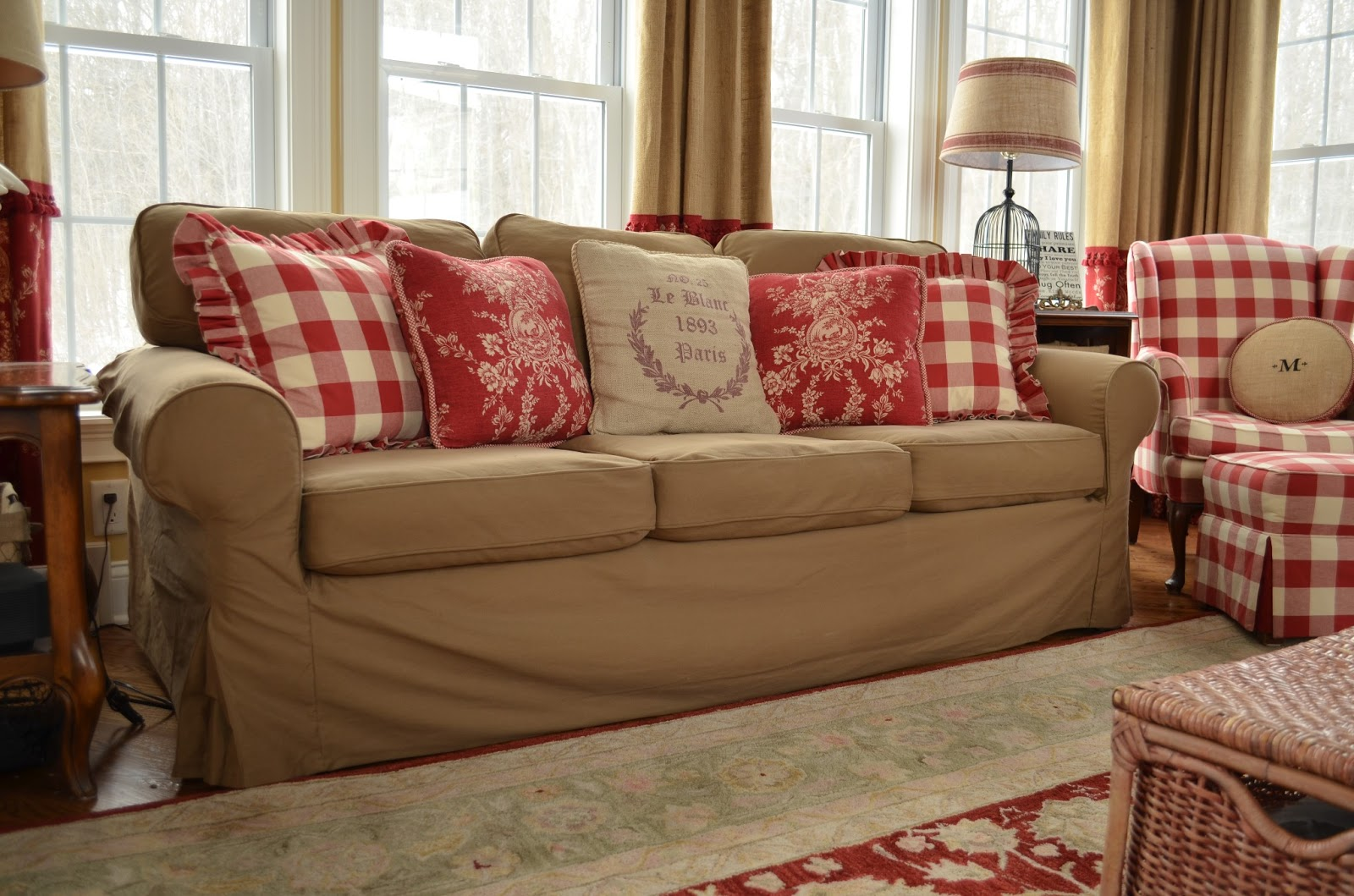 buffalo check sofa cover cleaning sw london the thrifty gypsy slipcover secret